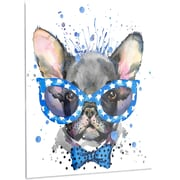 DesignArt 'Cute French Bulldog w/ Glasses' Painting Print on Metal