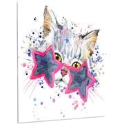 DesignArt 'Cute Kitten w/ Blue Stars' Painting Print on Metal