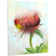 DesignArt Floral 'Cute Red Green Watercolor Flower' Painting Print on Metal; 28'' H x 12'' W x 1'' D