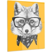 DesignArt 'Funny Fox w/ Formal Glasses' Graphic Art on Metal; 28'' H x 12'' W x 1'' D