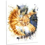 DesignArt 'Cute Kitten Graphical Illustration' Painting Print on Metal