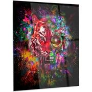 DesignArt Abstract 'Colorful Tiger Head w/ Half Skull' Graphic Art on Metal; 28'' H x 12'' W x 1'' D