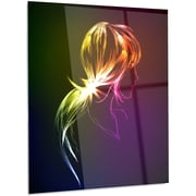 DesignArt Abstract 'Illuminating Fractal Girl's Head' Graphic Art on Metal; 28'' H x 12'' W x 1'' D