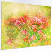 DesignArt Floral 'Colorful Spring Garden w/ Flowers' Photographic Print on Metal