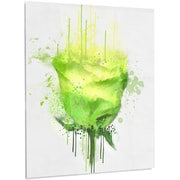DesignArt 'Light Green Buddy Rose on White' Painting Print on Metal; 28'' H x 12'' W x 1'' D