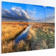DesignArt 'Beautiful Meadow w/ Blue Sky' Photographic Print on Metal; 12'' H x 28'' W x 1'' D