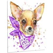 DesignArt 'Cute Puppy Dog w/ Neck Shawl' Painting Print on Metal