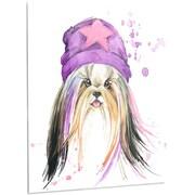 DesignArt 'Cute Dog w/ Starred Hat' Painting Print on Metal