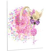 DesignArt 'Sweet Pink Dog w/ Glasses' Painting Print on Metal