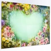 DesignArt Floral 'Vintage Flowers w/ Heart Shape' Painting Print on Metal; 12'' H x 28'' W x 1'' D