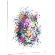 DesignArt Abstract 'Tiger Face in Colorful Splashes' Graphic Art on Metal; 48'' H x 40'' W x 1'' D