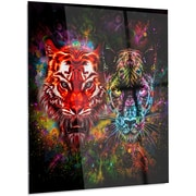 DesignArt 'Tiger and Panther w/ Splashes' Graphic Art on Metal; 28'' H x 12'' W x 1'' D