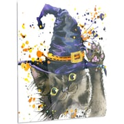 DesignArt 'Halloween Cat and Witch Hat' Graphic Art on Metal; 48'' H x 30'' W x 1'' D