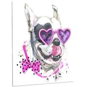 DesignArt 'Funny Dog w/ Heart Glasses' Painting Print on Metal