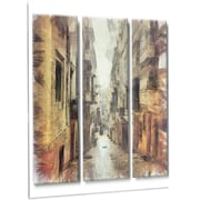 DesignArt 'Path in Street Watercolor Stretch' Painting Print on Metal; 48'' H x 30'' W x 1'' D