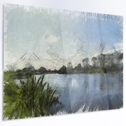 DesignArt 'Beautiful River Bank in Summer' Painting Print on Metal; 40'' H x 48'' W x 1'' D