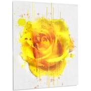 DesignArt 'Beautiful Rose in Yellow Watercolor' Painting Print on Metal
