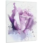 DesignArt 'Beautiful Purple Rose on Purple' Painting Print on Metal