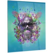 DesignArt Abstract 'Skull w/ Glasses and Butterflies' Graphic Art on Metal; 48'' H x 30'' W x 1'' D