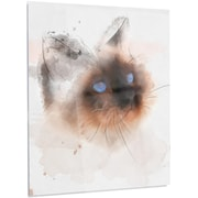 DesignArt 'Black Cute Cat w/ Blue Eyes' Painting Print on Metal