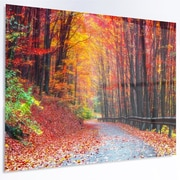 DesignArt 'Road in Beautiful Autumn Forest' Photographic Print on Metal