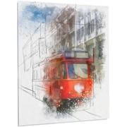 DesignArt Cityscape 'Red Trolley Car Watercolor' Painting Print on Metal; 48'' H x 30'' W x 1'' D