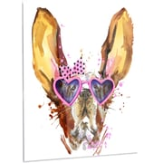 DesignArt 'Brown Cute Dog w/ Heart Glasses' Painting Print on Metal; 48'' H x 40'' W x 1'' D