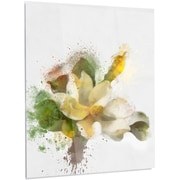 DesignArt 'Beautiful Flower w/ Color Splashes' Painting Print on Metal