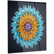 DesignArt 'Yellow Blue Abstract 3D Flower' Photographic Print on Metal; 28'' H x 12'' W x 1'' D