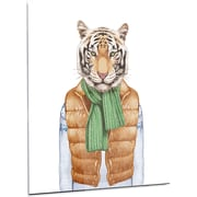 DesignArt 'Tiger in Vest and Sweater' Graphic Art on Metal; 28'' H x 12'' W x 1'' D