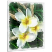 DesignArt 'Cute Frangipani Flowers Watercolor' Printing Print on Metal; 28'' H x 12'' W x 1'' D