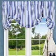 Ellis Curtain Jaden Stripe 60'' Tie-up Curtain Valance; Blue