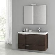 ACF New Space 39'' Single Bathroom Vanity Set w/ Mirror; Larch Canapa