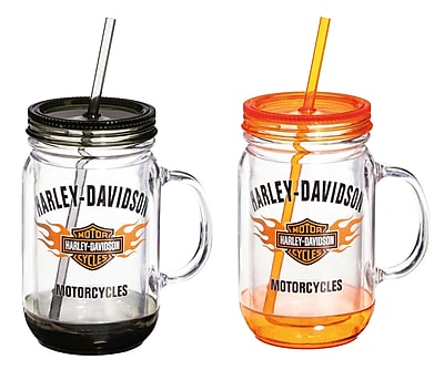 Evergreen Enterprises, Inc Harley-Davidson 18 oz. Mason Jar Cup (Set of 2) WYF078279886323