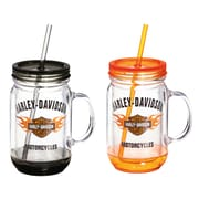 Evergreen Enterprises, Inc Harley-Davidson  18 oz. Mason Jar Cup (Set of 2)