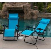 Belleze Zero Gravity Chaise Lounge w/ Cushion (Set of 2); Sky Blue