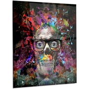 DesignArt Abstract 'Colorful Human Skull w/ Glasses' Graphic Art on Metal