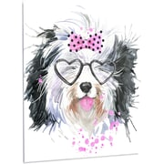 DesignArt 'Cute Dog w/ Heart Glasses' Painting Print on Metal; 28'' H x 12'' W x 1'' D