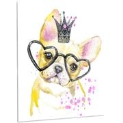 DesignArt 'Funny Dog w/ Large Glasses' Painting Print on Metal; 28'' H x 12'' W x 1'' D