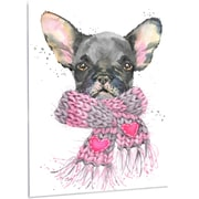 DesignArt 'Cute Puppy Dog w/ Pink Shawl' Painting Print on Metal