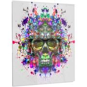 DesignArt 'Skull w/ Glasses and Paint Splashes' Graphic Art on Metal