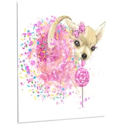 DesignArt 'Sweet Pink Dog without Glasses' Painting Print on Metal; 48'' H x 30'' W x 1'' D