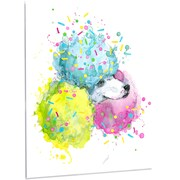 DesignArt 'Cute White Dog w/ Color Spheres' Painting Print on Metal