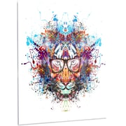 DesignArt 'Colorful Tiger in Glasses' Graphic Art on Metal