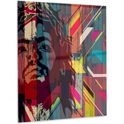 DesignArt 'Jesus over Abstract Wooden Design' Graphic Art on Metal; 28'' H x 12'' W x 1'' D