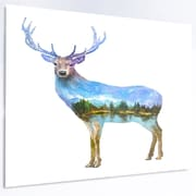 DesignArt 'Deer Double Exposure Illustration' Graphic Art on Metal; 12'' H x 28'' W x 1'' D