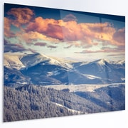 DesignArt 'Winter Alpine Sunset over Hills' LED Photographic Print on Metal
