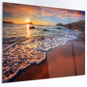 DesignArt 'Stunning Ocean Beach at Sunset' Photographic Print on Metal; 40'' H x 48'' W x 1'' D