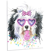 DesignArt 'Lovely Dog w/ Pink Heart Glasses' Graphic Art  on Metal; 28'' H x 12'' W x 1'' D