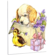 DesignArt 'Cute Puppy Dog and Duck' Painting Print on Metal